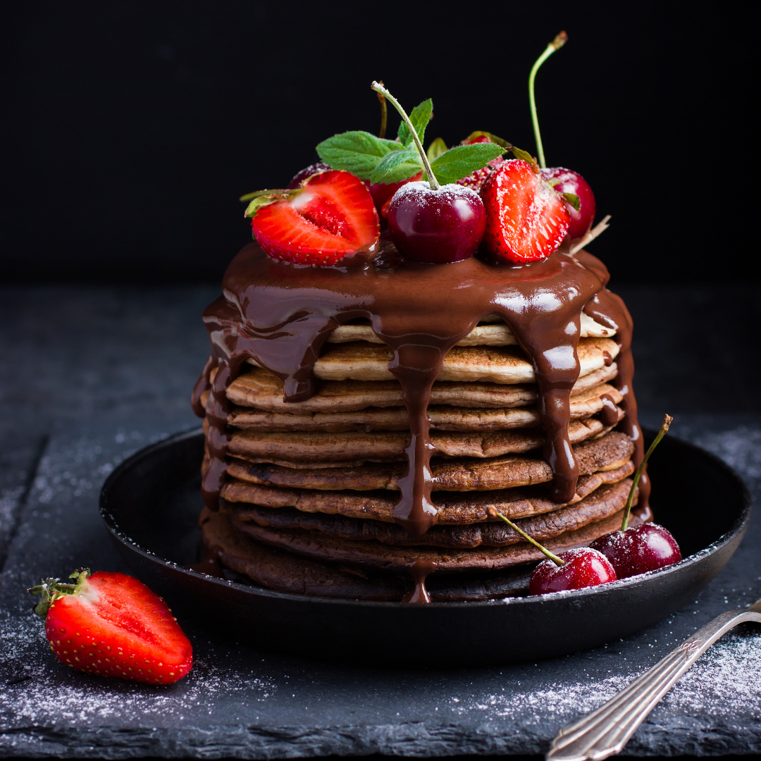 Chocolate Pancakes with Birch & Waite Chocolate Dessert Sauce